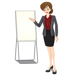 A businesswoman beside the empty board vector image