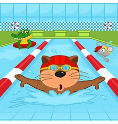 Animals in pool vector