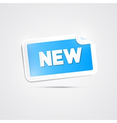 Blue Sticker with New Title on Grey Background vector image