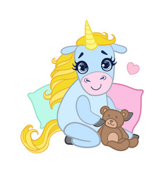 Cartoon light blue lovely unicorn sitting with a vector