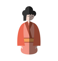character japanese woman attire costume shadow vector image