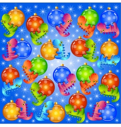 Christmas background with balls and dragons vector