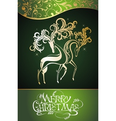 Christmas decorative deers vector image vector image