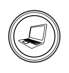 contour emblem laptop icon vector image