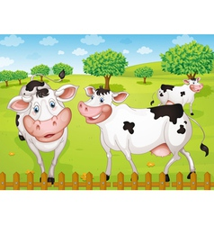 cows grazing in farm vector image
