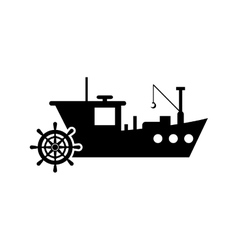 fishing boat and anchor icon vector image