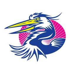 Great blue heron head retro vector