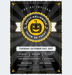 Halloween celebrations vintage label on the vector