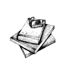 Hand drawn stack of books and camera vector