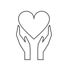 Hands holds heart love care outline vector