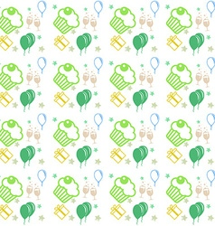 Happy birthday and anniversary seamless background vector