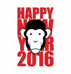 Happy new year 2016 Year of monkey Animal on vector image vector image