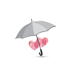 love heart sign over umbrella two hearts in love vector image