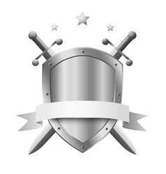 Metal shield with two crossed knight swords vector