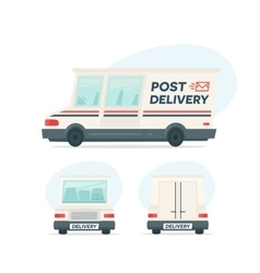 Set of cartoon delivery post car Isolated objects vector image