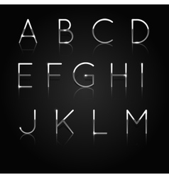Silver alphabet set of silver letters isolated on vector