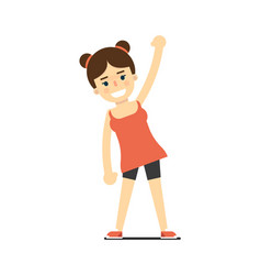 Sporty girl in sportswear doing fitness exercise vector