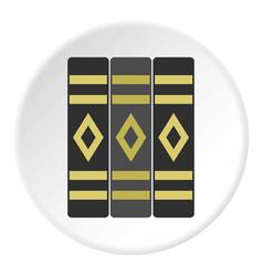 Three literary books icon circle vector
