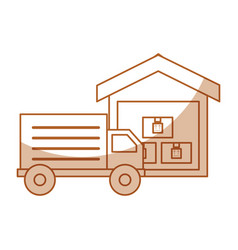 Truck delivery with warehouse service icon vector