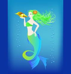 Underwater world little mermaid and seashell vector