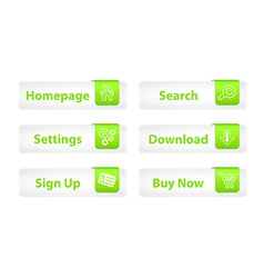 Web Buttons with Green Bookmarks and Six Icons vector image vector image