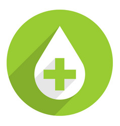 White drop icon first aid sign green cross vector