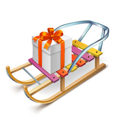 wooden sled with a box on it vector image