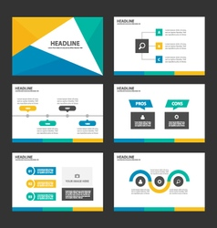 Yellow green blue presentation templates vector
