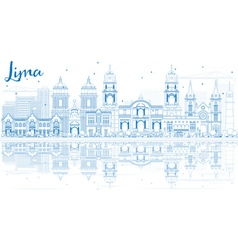 Outline lima skyline with blue buildings vector
