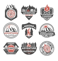 Adventure outdoor vintage isolated label set vector