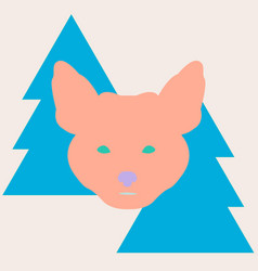 Stylish fox head between christmas trees vector