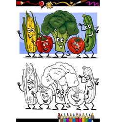 vegetables comic group for coloring book vector image