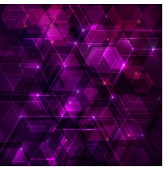 Purple abstract techno background with hexagons vector