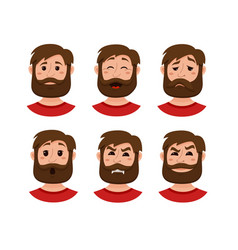 beard men facial expression vector image
