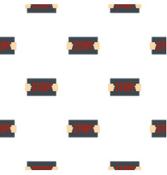 Hands holding stop placard pattern seamless vector