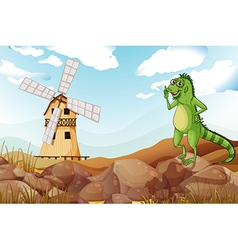 A smiling lizard across the wooden barnhouse with vector
