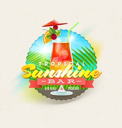 Tropical summer type design with cocktail vector image