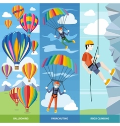Parachuting Ballooning and Rock Climbing vector image
