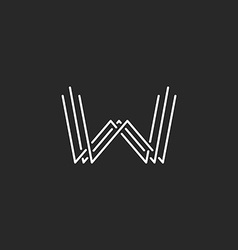 Modern letter w monogram logo mockup business card vector