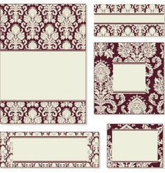 ornate damask frame set vector