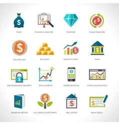 Financial analysis icons set vector