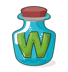 W magic bottle letter in bottle for laboratory and vector