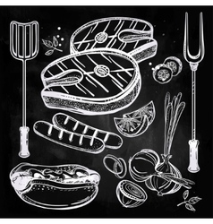 Grill food set line art vector