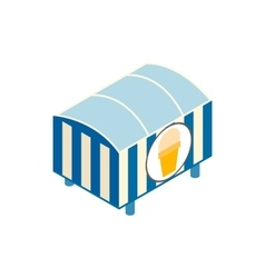Tent with ice cream isometric 3d icon vector