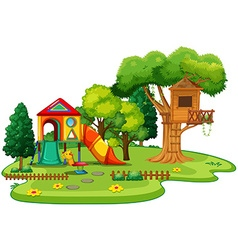 Playhouse and treehouse in the park vector