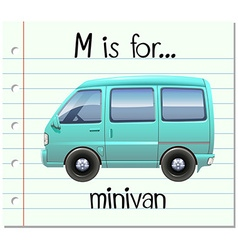 Flashcard letter m is for minivan vector