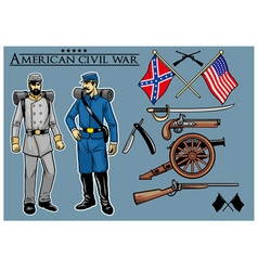 American civil war set vector