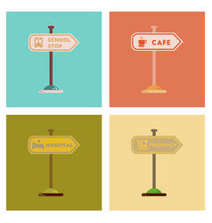 Assembly flat icons school stop pharmacy cafe vector