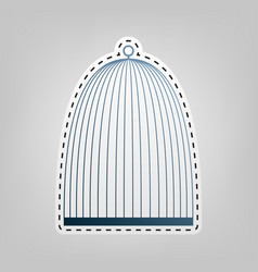 Bird cage sign blue icon with outline for vector