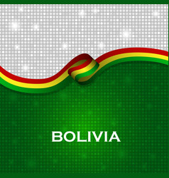 Bolivia flag ribbon shiny particle style vector